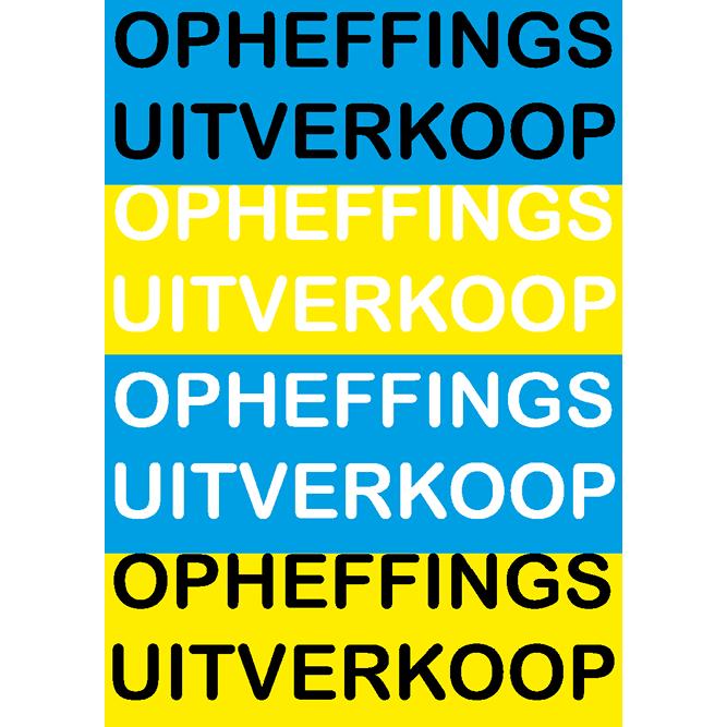 poster opheffings uitverkoop WPO001 blauw-geel