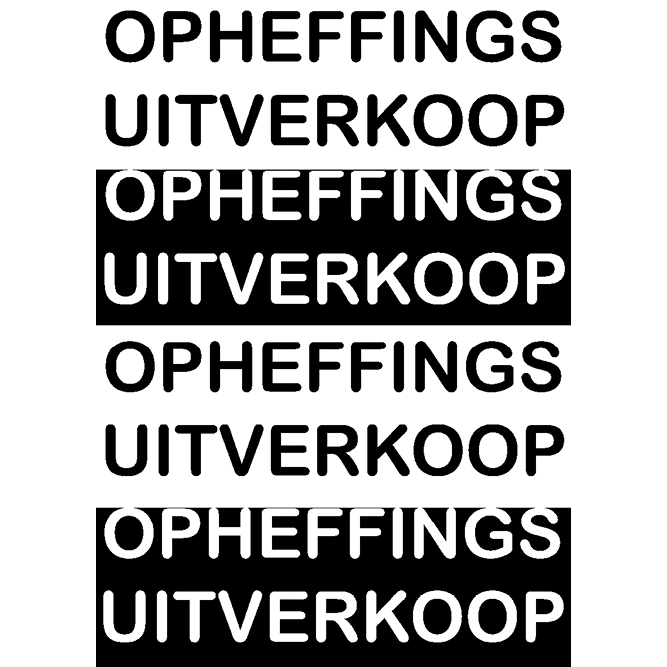 poster opheffings uitverkoop WPO001 zwart-wit