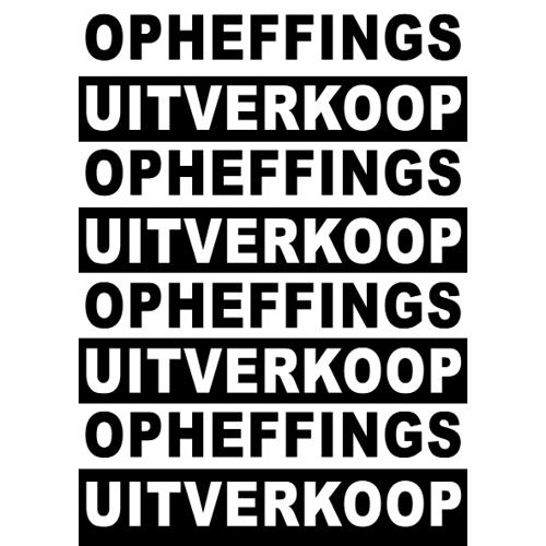poster opheffings uitverkoop WPO002 zwart-wit