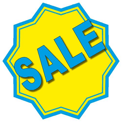 Sale sticker 10-ster WSU003 geel-blauw