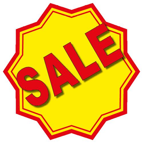 Sale sticker 10-ster WSU003 geel-rood