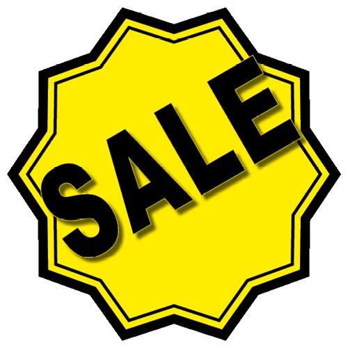 Sale sticker 10-ster WSU003 geel-zwart