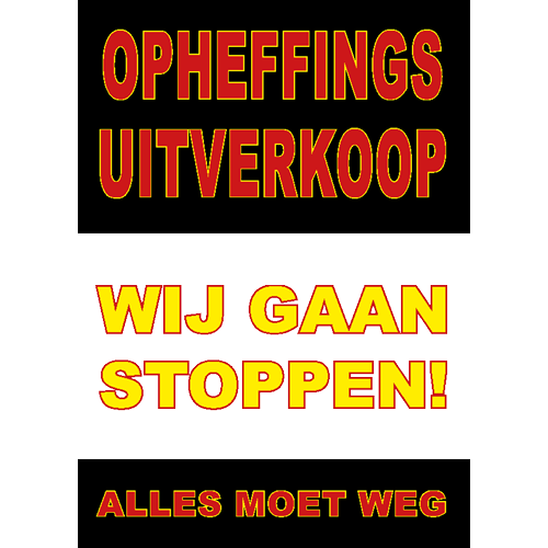 poster wij gaan stoppen - WPO006 zwart-rood-geel